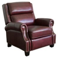 Abbyson Living Mac Top Grain Leather Pushback Recliner in Burgundy