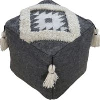 Ren-wil Wool Upholstered Bursa Pouf Ottoman in Ivory/grey