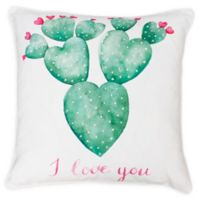 Thro Sandrine Cindy Succulent Square Throw Pillow in White/Green