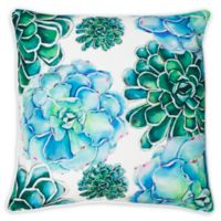 Thro Maribella Cindy Succulent Square Throw Pillow in Blue/Green