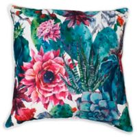 Thro Ray Cindy Succulent Square Throw Pillow in Green/Pink