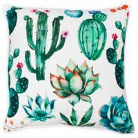Thro Ellen Cindy Succulent Square Throw Pillow in White/Green