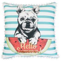 Thro Franco French Bulldog Square Throw Pillow in Aqua/White