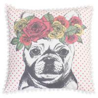 Thro Bella French Bulldog Square Throw Pillow in Pink/White