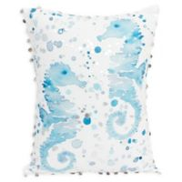 Thro Jambiana Seahorse Oblong Throw Pillow in Blue/White