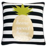 Thro Good Vibes Pineapple Square Throw Pillow in Black/White
