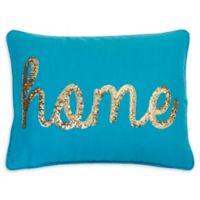 "Thro ""Home"" Sequin Oblong Throw Pillow in Ocean Blue"