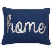 "Thro ""Home"" Sequin Oblong Throw Pillow in Navy"