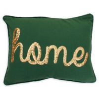 "Thro ""Home"" Sequin Oblong Throw Pillow in Green"