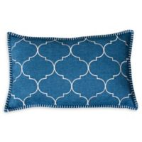 Thro Ava Whipstitch Oblong Throw Pillow in Teal Green