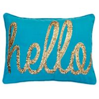 Thro Hello Sequin Oblong Throw Pillow in Ocean Blue