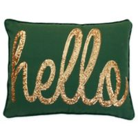 Thro Hello Sequin Oblong Throw Pillow in Dark Green