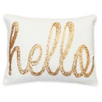 Thro Hello Sequin Oblong Throw Pillow in Cream