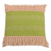 Thro Harriet Embroidered Square Throw Pillow in Green
