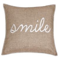 """Shiloh """"Smile"""" Embroidered Throw Pillow in Natural Color"""