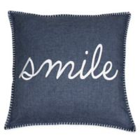"""Shiloh """"Smile"""" Embroidered Throw Pillow in Navy"""