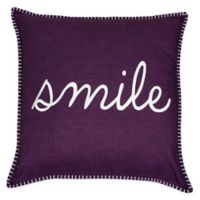 "Shiloh ""Smile"" Embroidered Throw Pillow in Wine Color"
