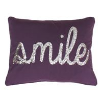 Smile Sequin Throw Pillow in Purple & Gold