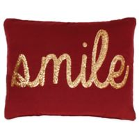 Smile Sequin Throw Pillow in Red & Gold