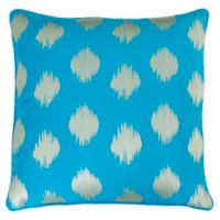 Deniz Metallic Ikat Throw Pillow in Pink in Teal Blue