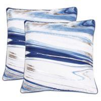 Thro Kia Marble Raised Foil Square Throw Pillows in Blue/Gold (Set of 2)