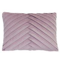 James Pleated Rectangle Velvet Throw Pillow in Purple