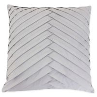 James Pleated Square Velvet Throw Pillow in Silver