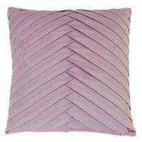 James Pleated Square Velvet Throw Pillow in Purple