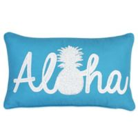 Aloha Pineapple Throw Pillow in Teal Blue