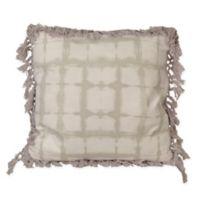 Denver Shibori Fringe Throw Pillow in Light Silver