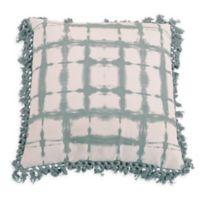 Denver Shibori Fringe Throw Pillow in Blue/Grey
