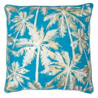 Pokki Palm Tree Square Throw Pillow in Blue