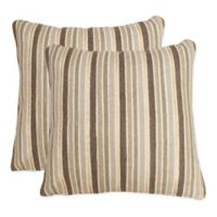 Susana Stripe Foil Patterned Square Throw Pillow (Set of 2)
