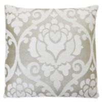 Thro Grace Metallic Damask Square Throw Pillow in Silver