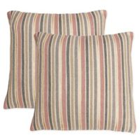 Thro Susana Stripe Foil Printed Square Throw Pillow in Light Pink (Set of 2)