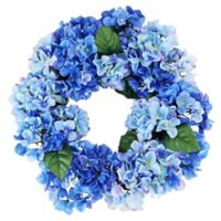 22-Inch Artificial Hydrangea Wreath in Blue