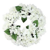 22-Inch Artificial Hydrangea Wreath in Cream