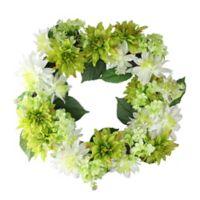 22-Inch Artificial Dahlia & Hydrangea Wreath