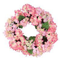 22-Inch Artificial Hydrangea Wreath in Pink