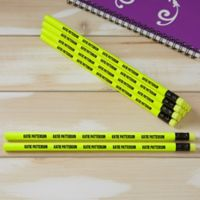 Neon Yellow Personalized Pencil Set of 12