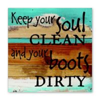 "Sweet Bird & Co. ""Keep Your Soul Clean"" 8-Inch Square Reclaimed Wood Wall Art"