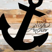 """Sweet Bird & Co """"Find Your Anchor"""" Wood Wall Art in Blue/Grey"""