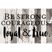 """Sweet Bird & Co """"Be Strong"""" Wood Wall Art in Silver/White"""