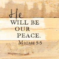 "Sweet Bird & Co. ""He Will Be Our Peace"" Square Wooden Wall Art"