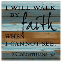 "Sweet Bird & Co. ""I Will Walk By Faith"" 12-Inch Square Wood Wall Art"