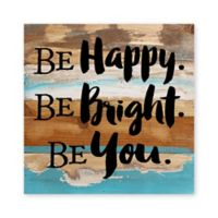 "Sweet Bird & Co. ""Happy Bright You"" Wood Wall Art in White/Turquoise"