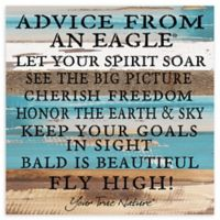 "Sweet Bird & Co. ""Advice From An Eagle"" 12-Inch Square Wood Wall Art"