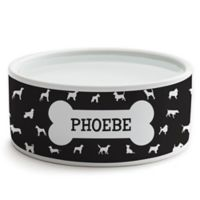 Personalized Planet Dog Bone Dog Bowl in Black