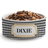 Personalized Planet Houndstooth Dog Bowl in Black
