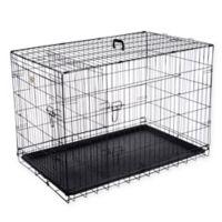 Pet Trex 42-Inch Portable Two-Door Pet Kennel in Black